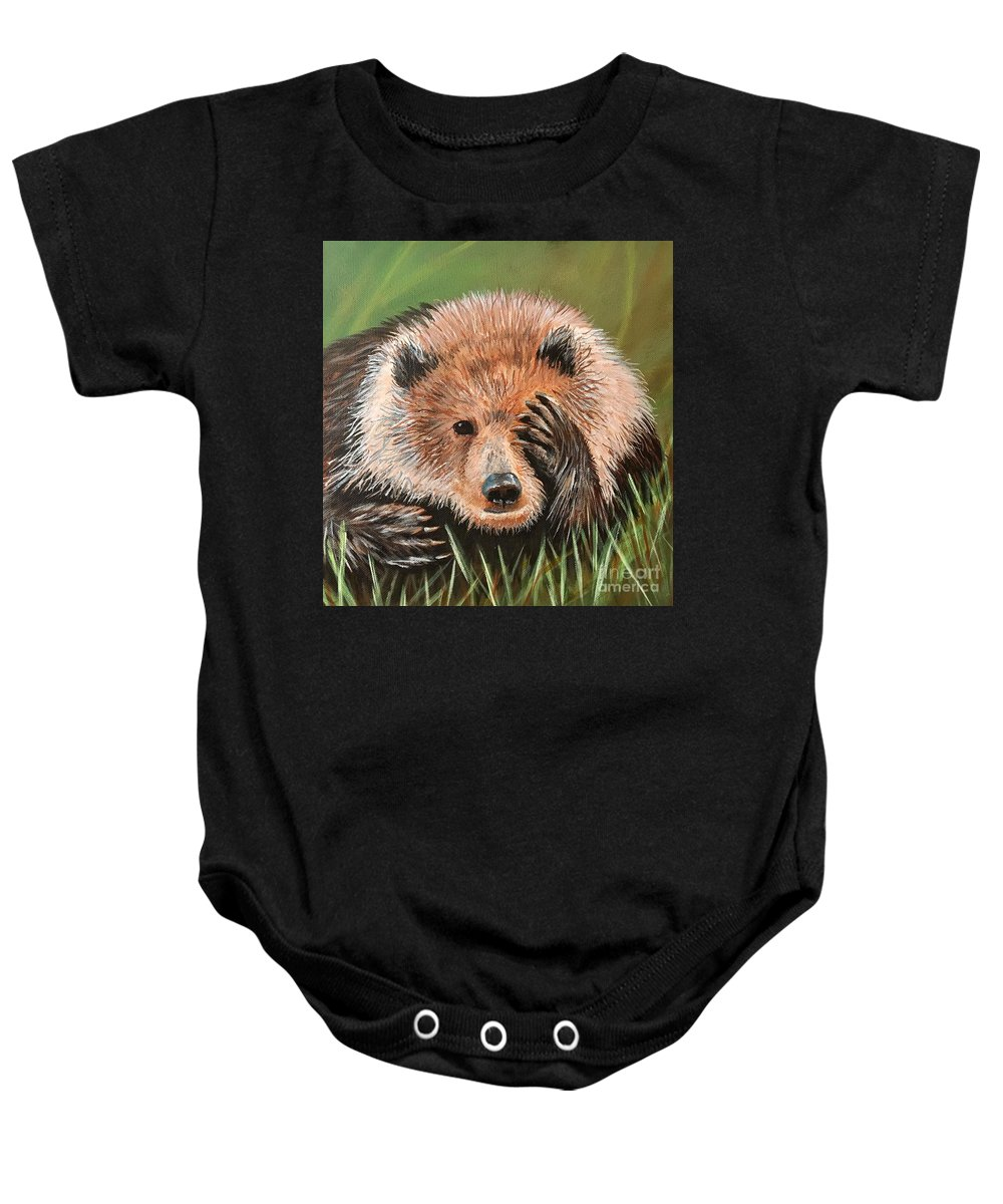 Bear Baby Onesie featuring the painting San Diego Bear by Monica Pope