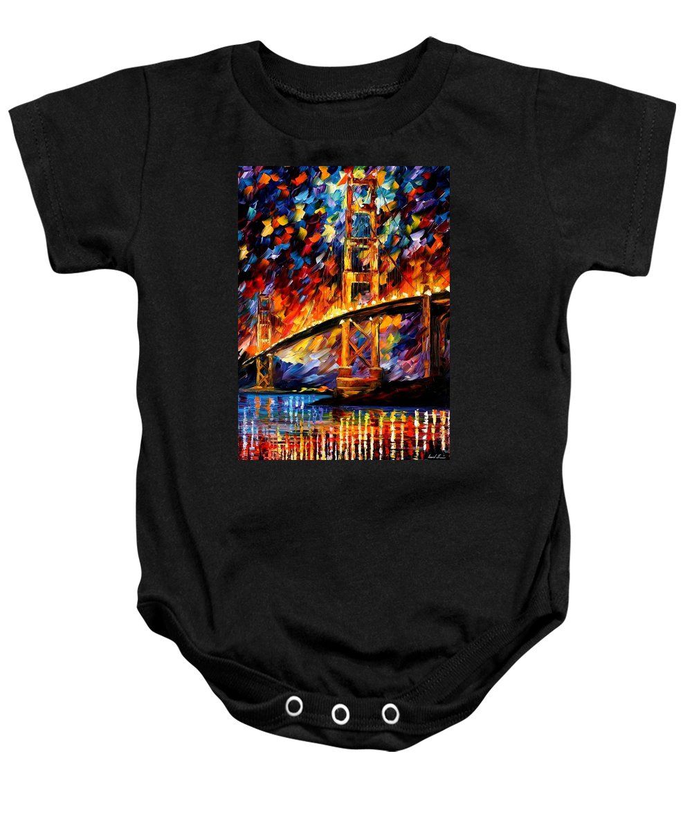 Afremov Baby Onesie featuring the painting San Francisco - Golden Gate by Leonid Afremov