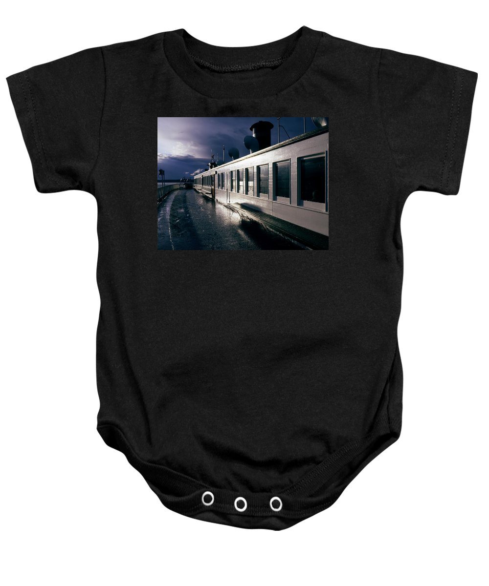Scenic Baby Onesie featuring the photograph San Juan Islands Ferry by Lee Santa