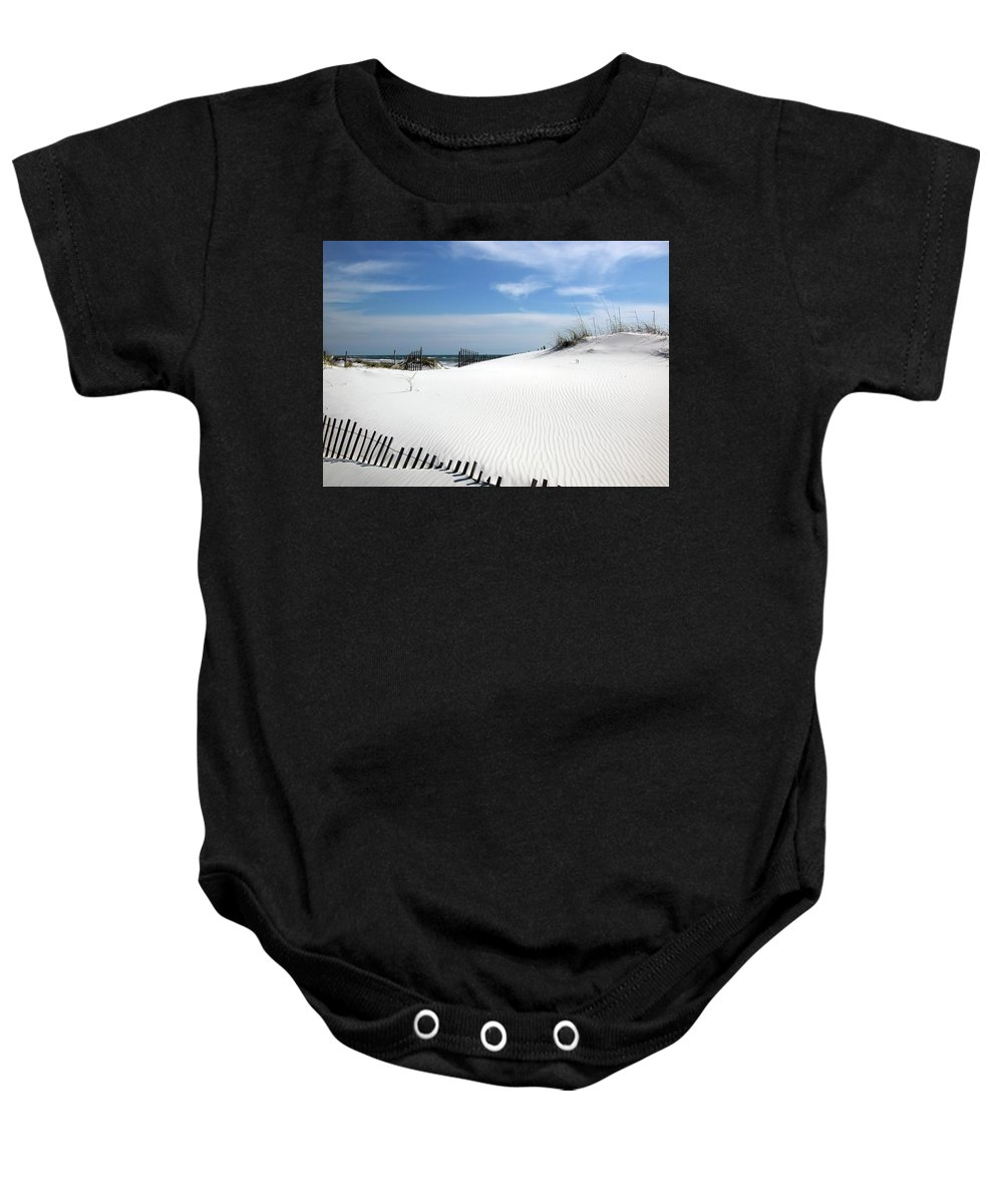 White Baby Onesie featuring the photograph Sand Dunes Dream by Marie Hicks