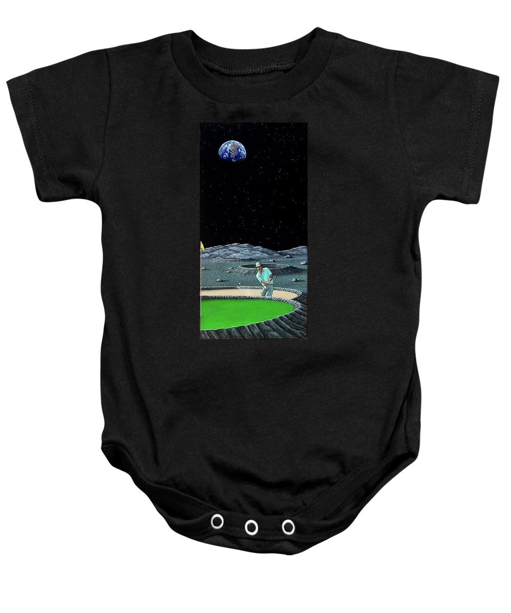Moon Baby Onesie featuring the painting Sand Trap by Snake Jagger