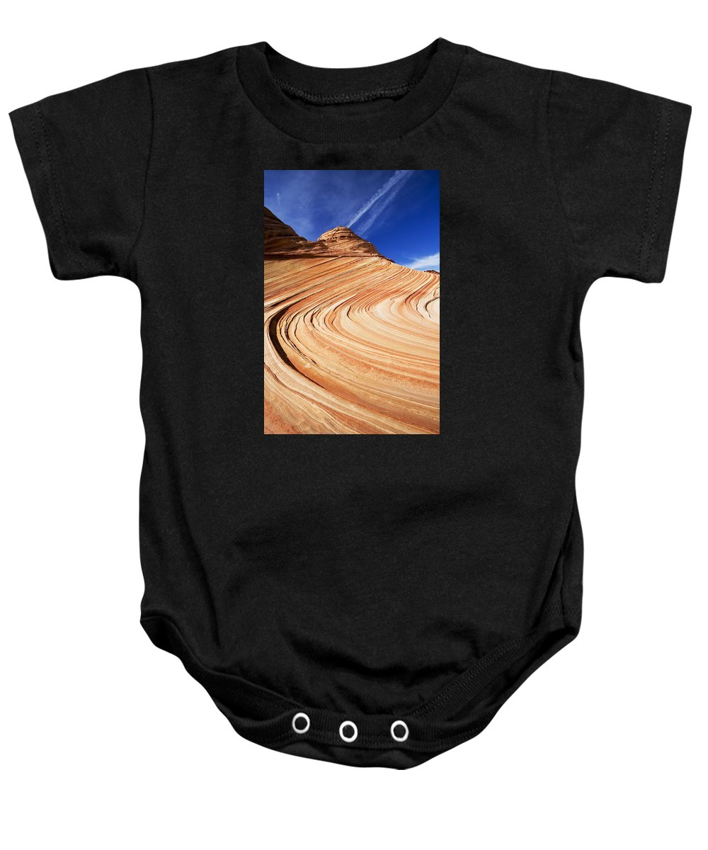 The Wave Baby Onesie featuring the photograph Sandstone Slide by Mike Dawson