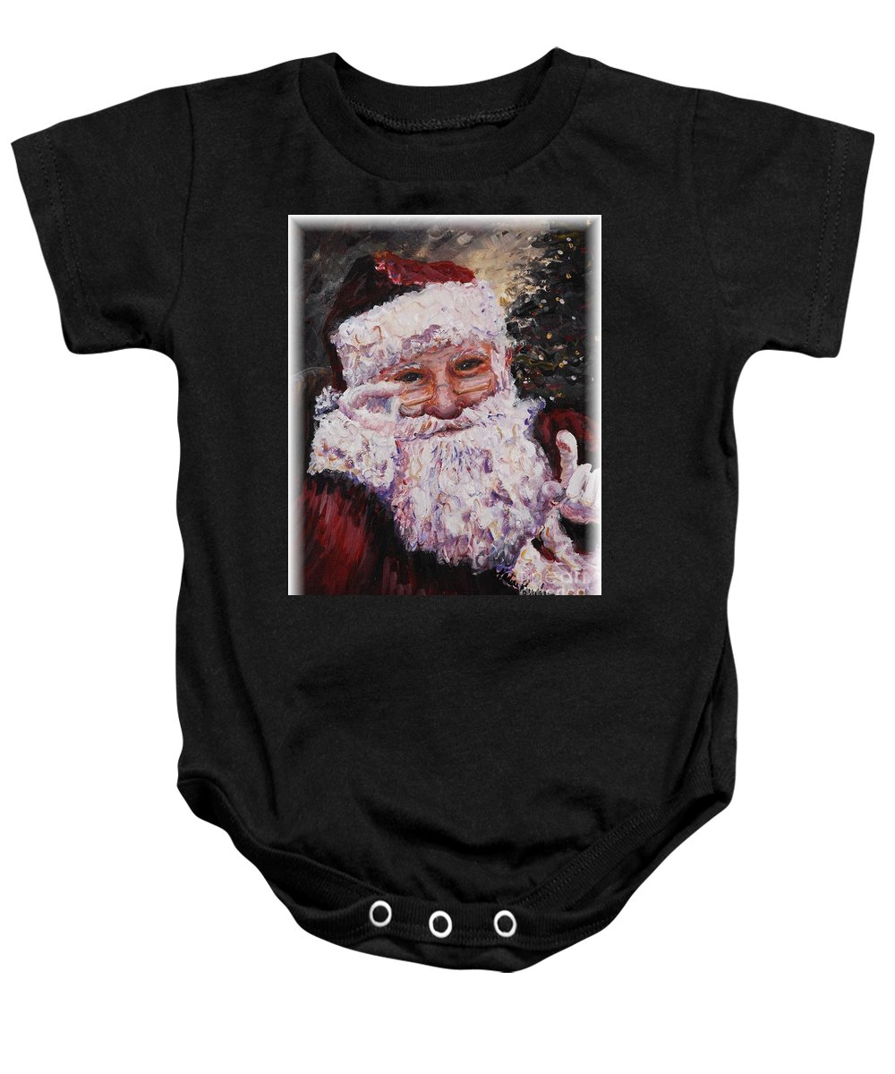Santa Baby Onesie featuring the painting Santa Chat by Nadine Rippelmeyer