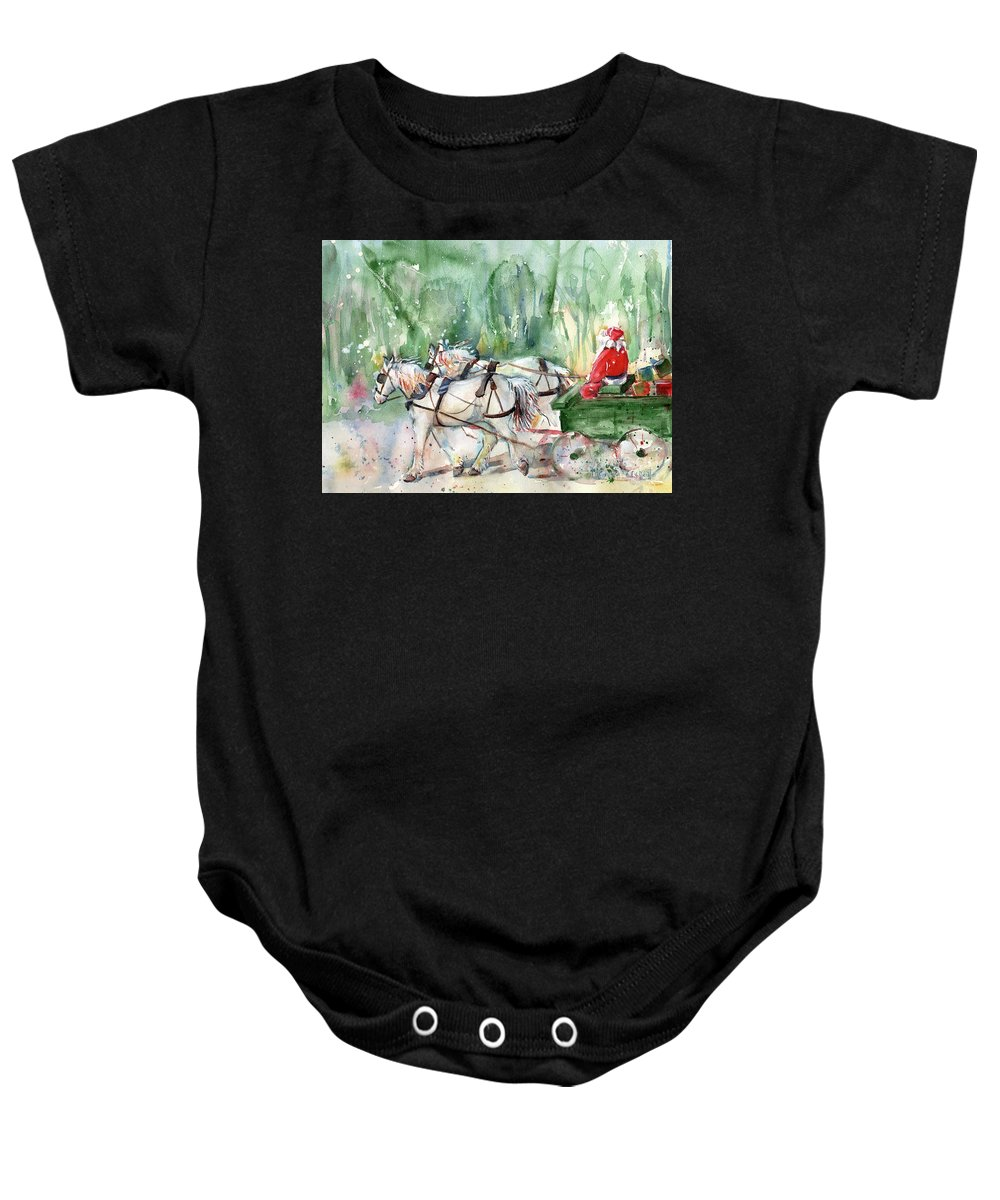 Horse Christmas Art Baby Onesie featuring the painting Santa Claus Is Coming To Town by Maria Reichert