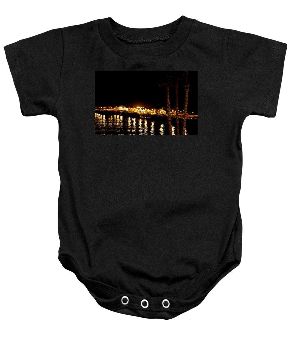 Pier Baby Onesie featuring the photograph Santa Cruz Pier At Night by Marilyn Hunt