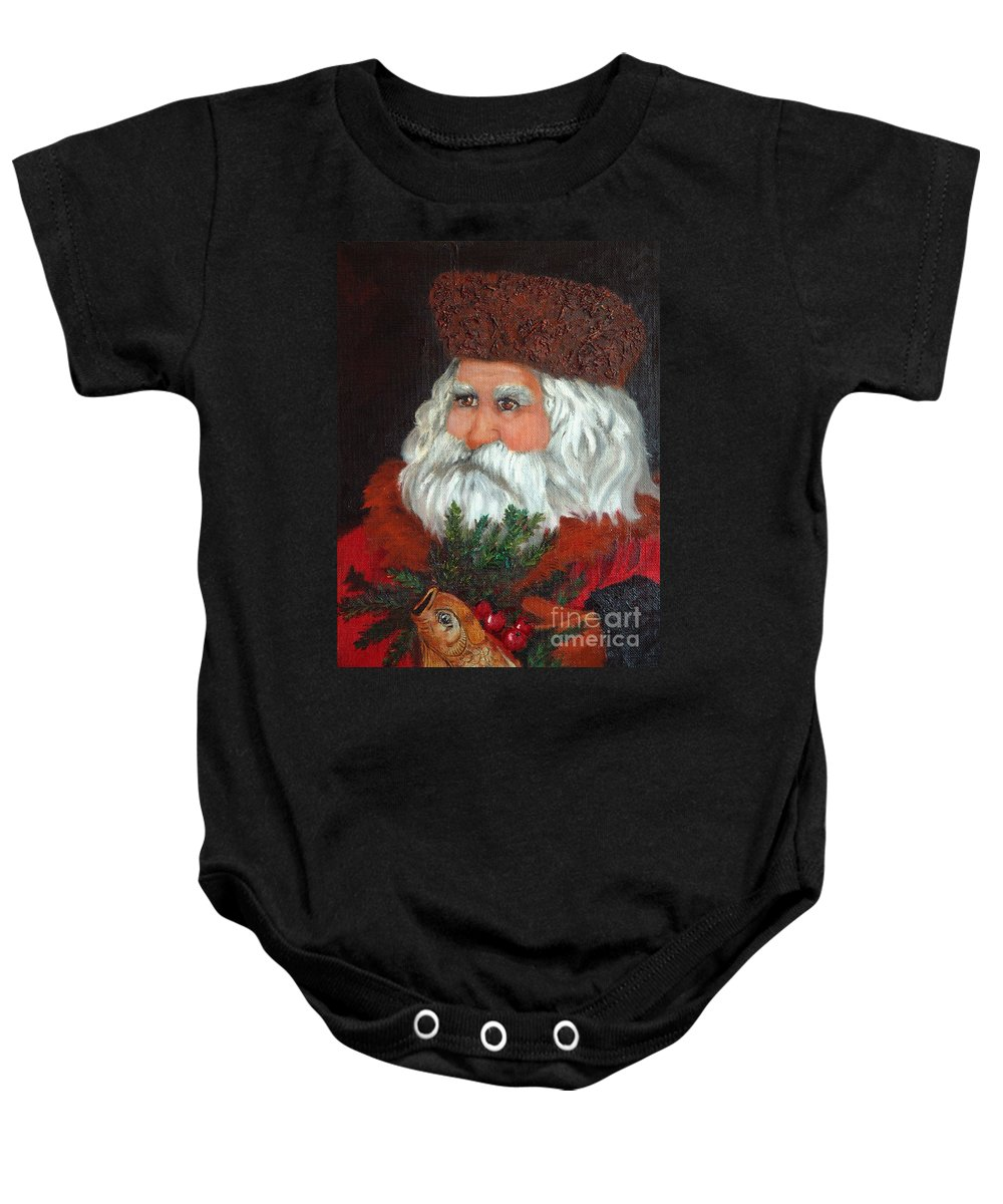 Santa Baby Onesie featuring the painting Santa by Portraits By NC