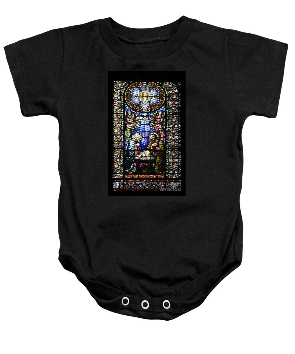 Religious Baby Onesie featuring the photograph Santa Maria De Montserrat Abbey 1 by Shay Levy