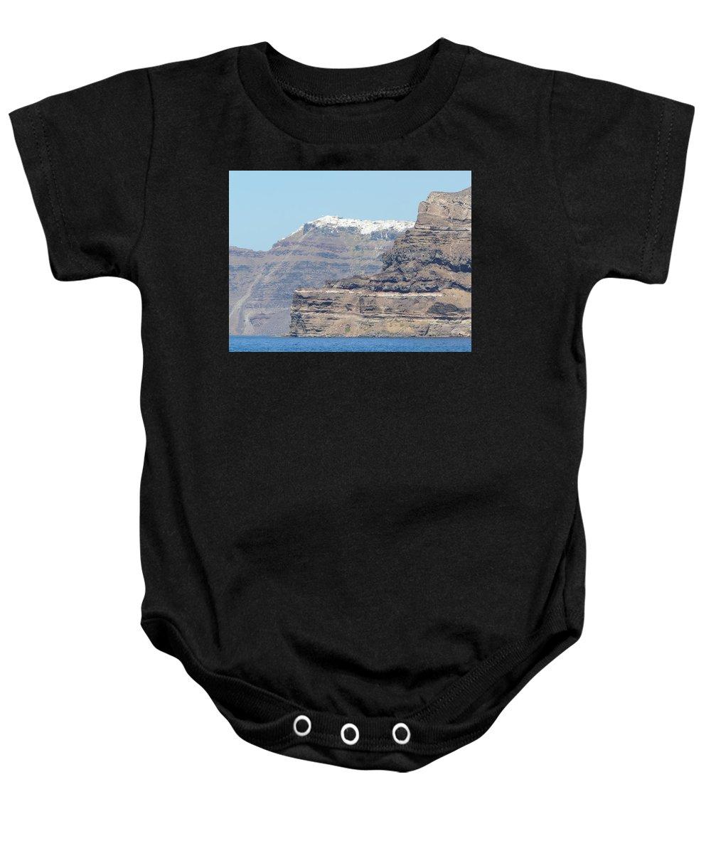 Santorin Baby Onesie featuring the photograph Santorini Fira by Valerie Ornstein
