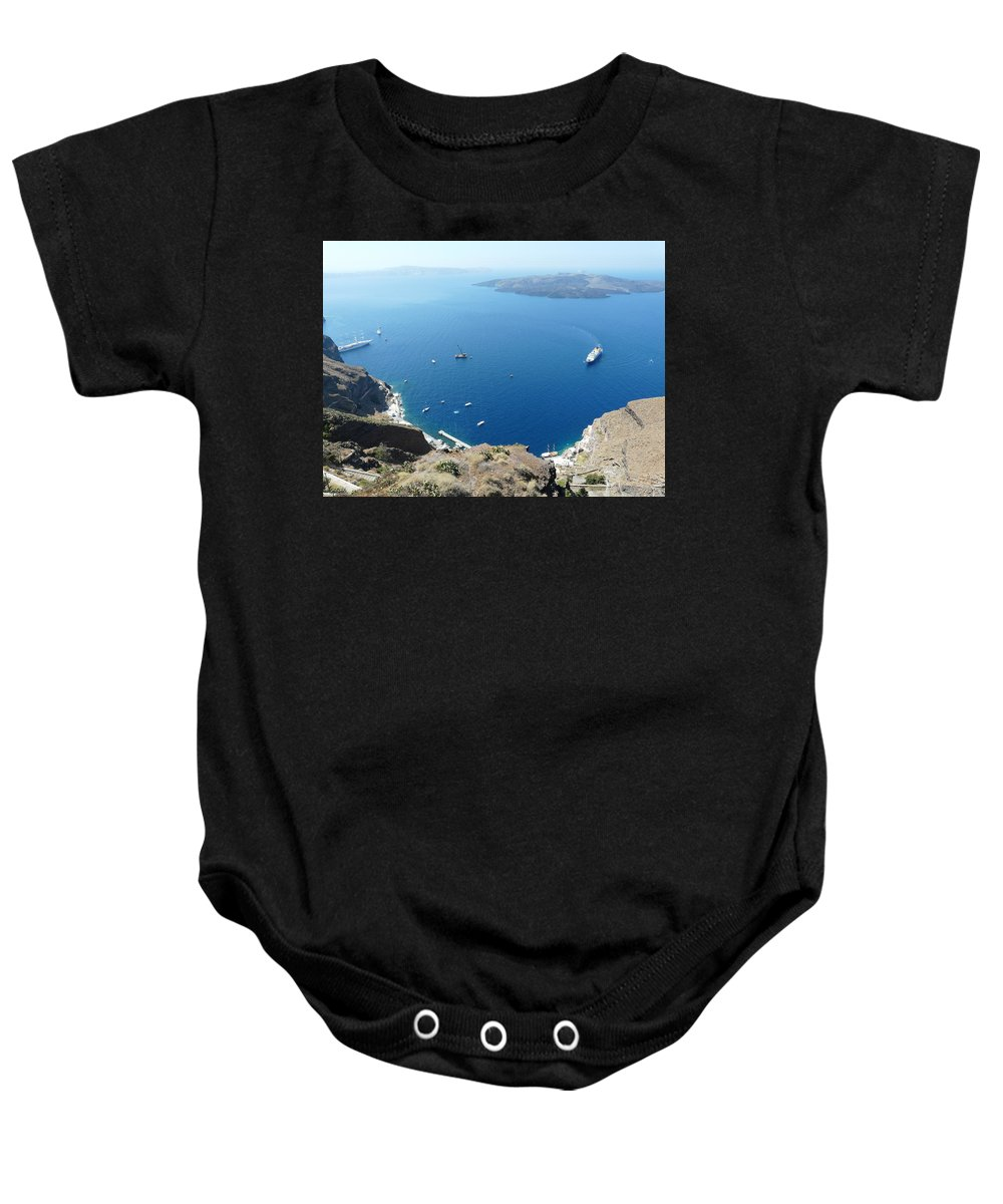 Santorin Baby Onesie featuring the photograph Santorini Old Port At Fira by Valerie Ornstein