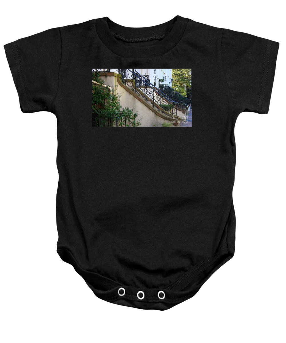 Wrought Iron Baby Onesie featuring the photograph Savannah Stairs by Carol Groenen