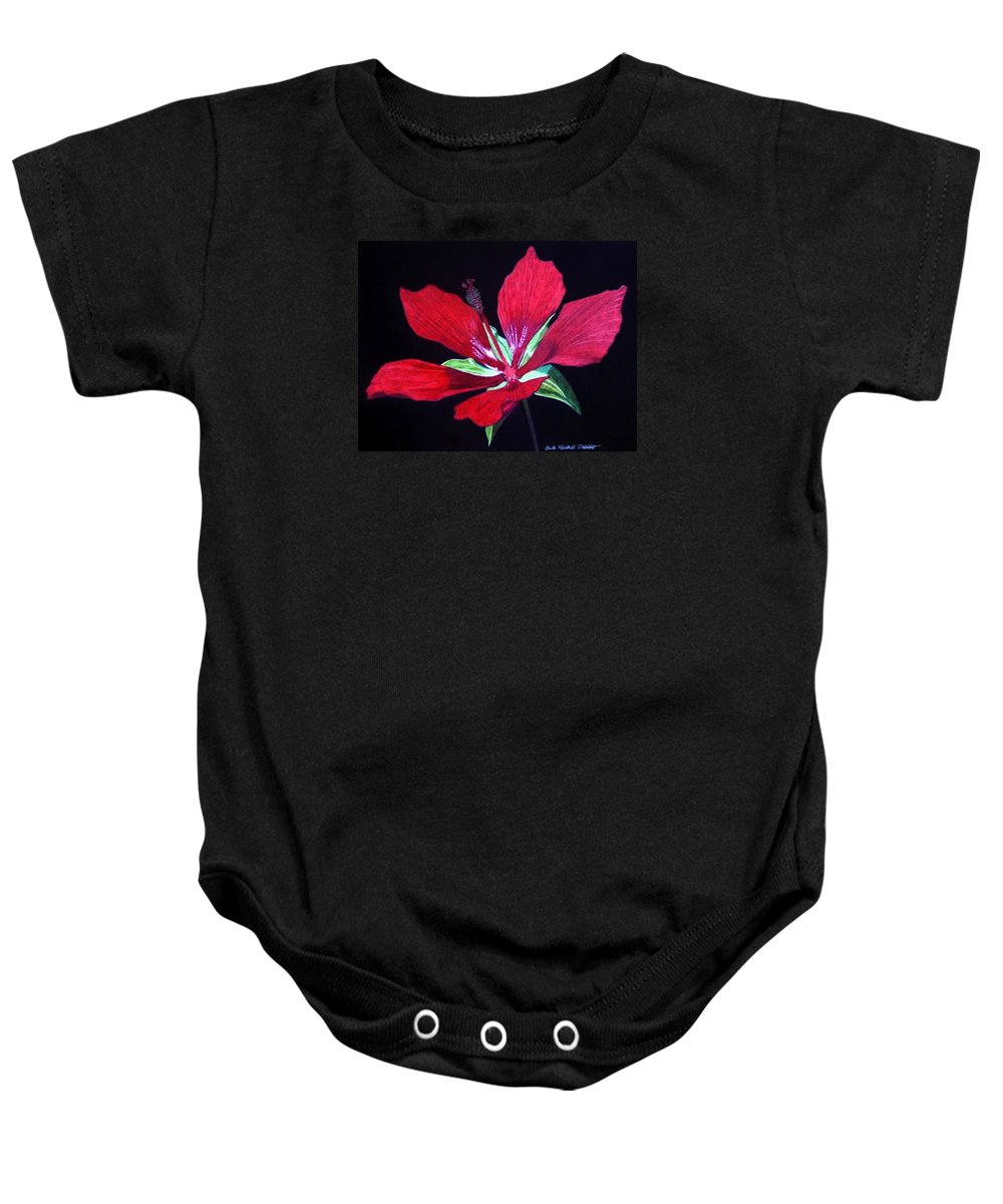 Hibiscus Baby Onesie featuring the drawing Scarlet by Anita Putman