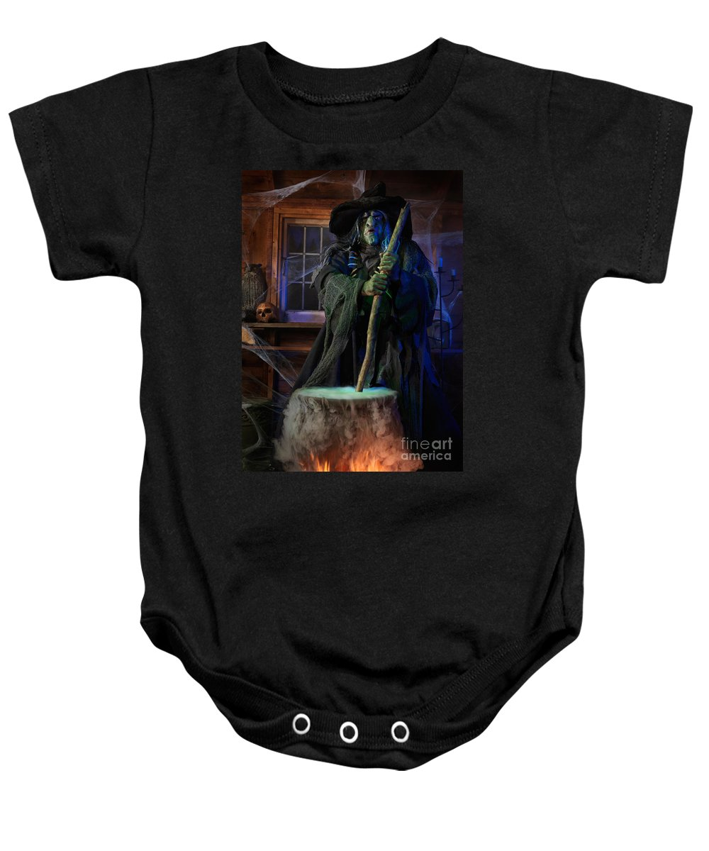 Witch Baby Onesie featuring the photograph Scary Old Witch With A Cauldron by Oleksiy Maksymenko