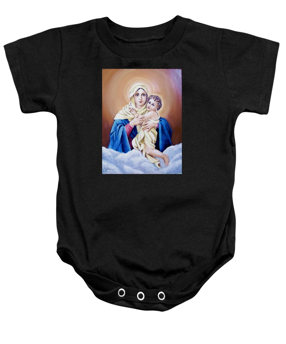 Religious Baby Onesie featuring the painting Schoenstat-tribute by Natalia Tejera