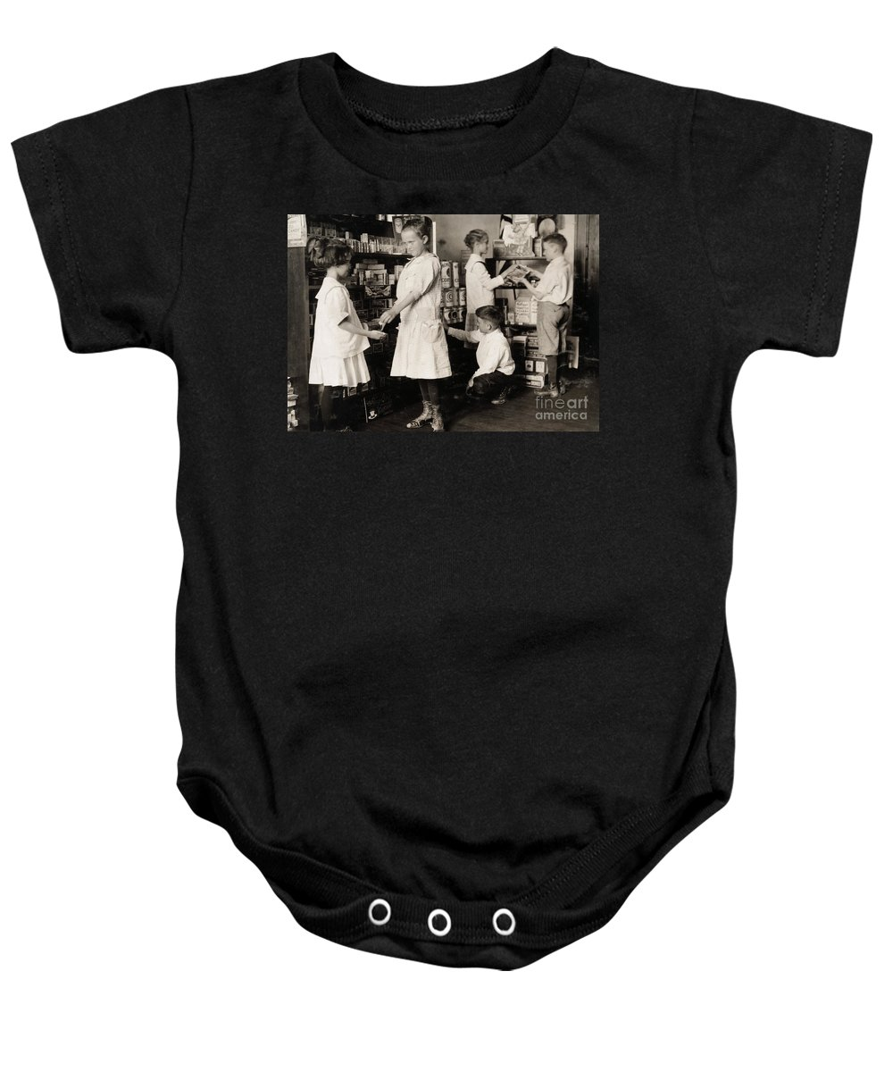 1917 Baby Onesie featuring the photograph School Store, 1917 by Granger
