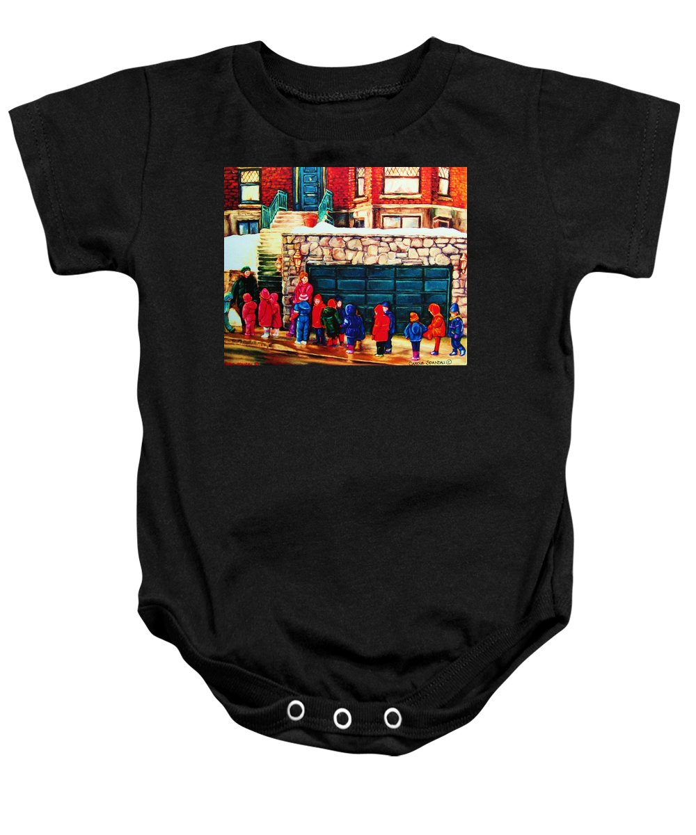 Montreal Streetscenes Baby Onesie featuring the painting Schools Out by Carole Spandau