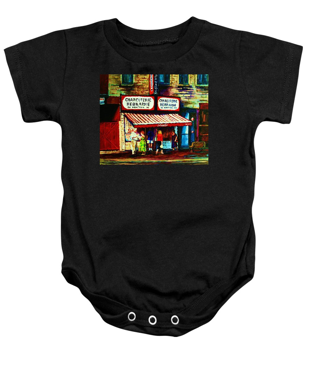 Schwartz Deli Baby Onesie featuring the painting Schwartzs Famous Smoked Meat by Carole Spandau