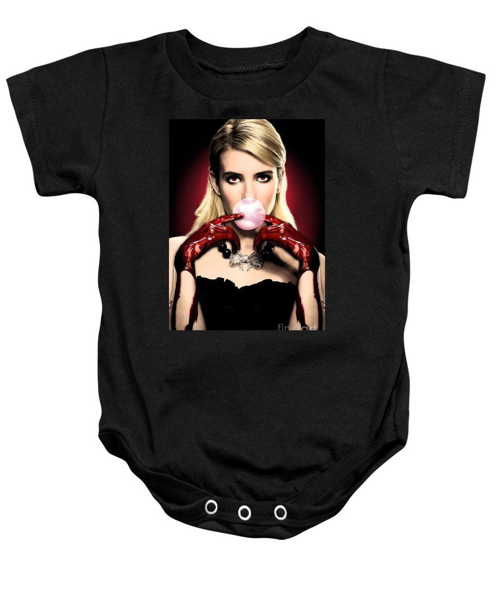 Scream Queen's Baby Onesie featuring the photograph Scream Queen's - Chanel Oberlin by GaGaMonster152
