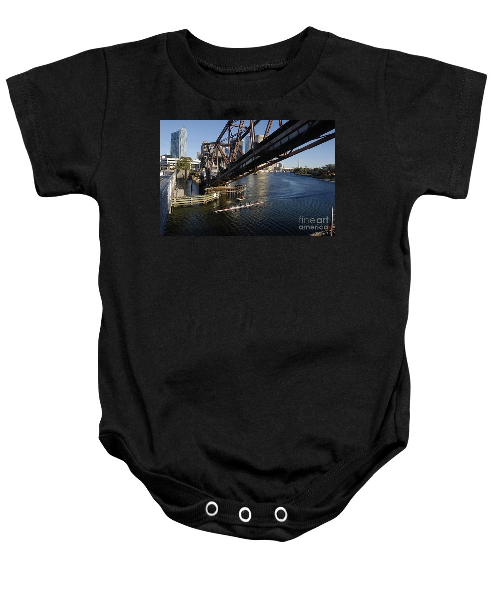 Sculling Baby Onesie featuring the photograph Sculling The Hillsborough by David Lee Thompson