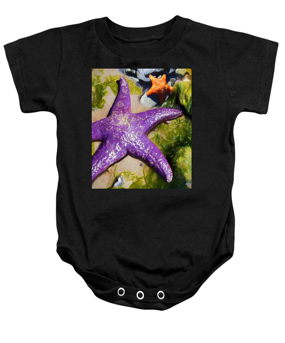 Sea Stars Baby Onesie featuring the painting Sea Stars by David Wagner