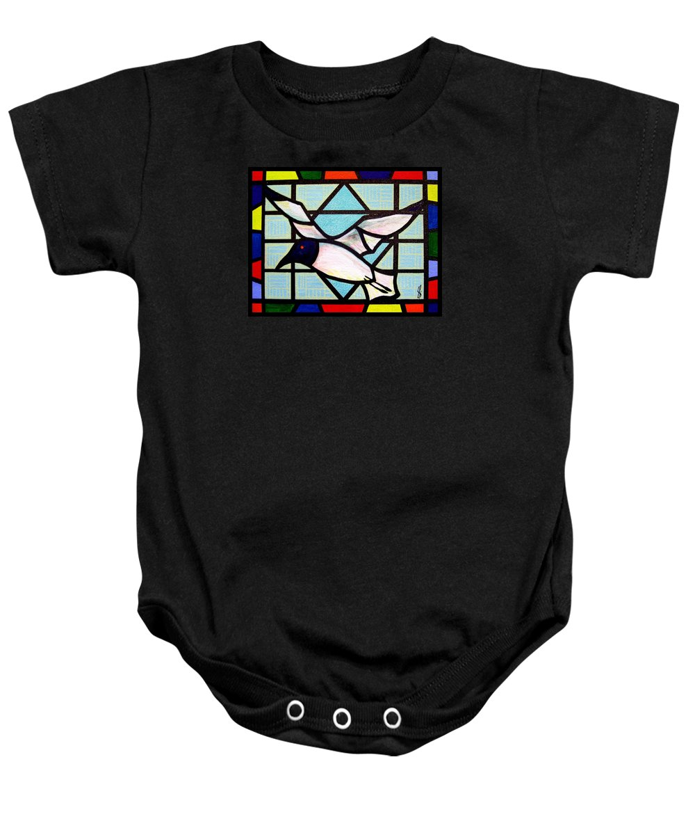 Seagull Baby Onesie featuring the painting Seagull Serenade by Jim Harris