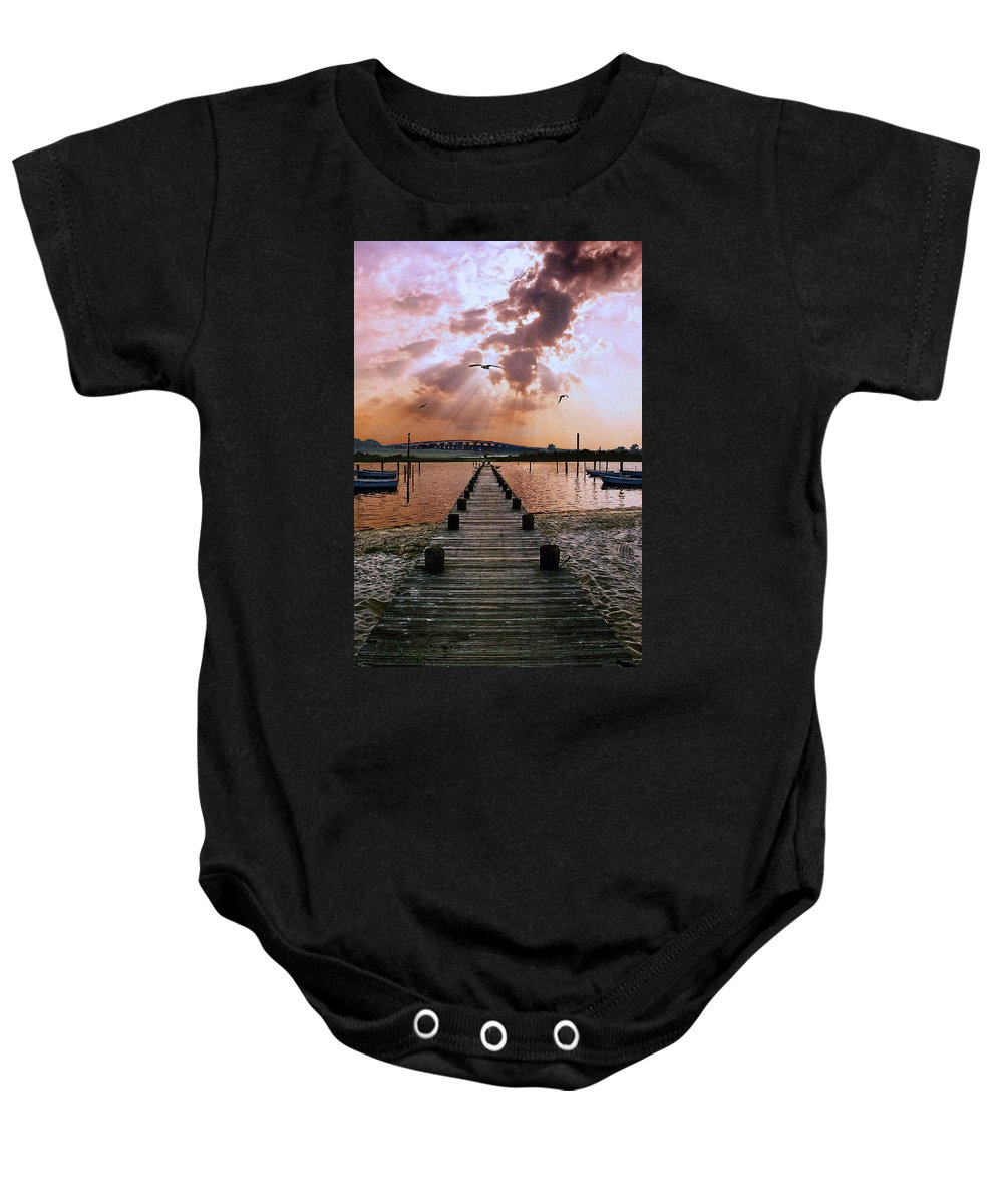 Seascape Baby Onesie featuring the photograph Seaside by Steve Karol