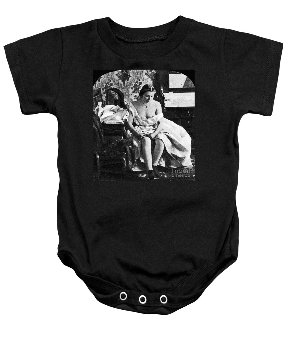 1861 Baby Onesie featuring the photograph Seated Nude, C1861 by Granger