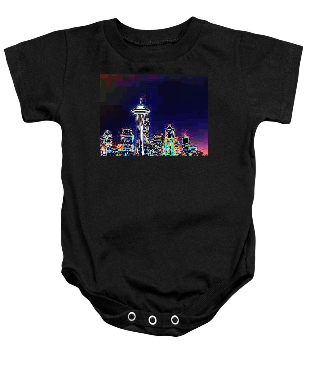 Seattle Baby Onesie featuring the photograph Seattle Skyline by Tim Allen