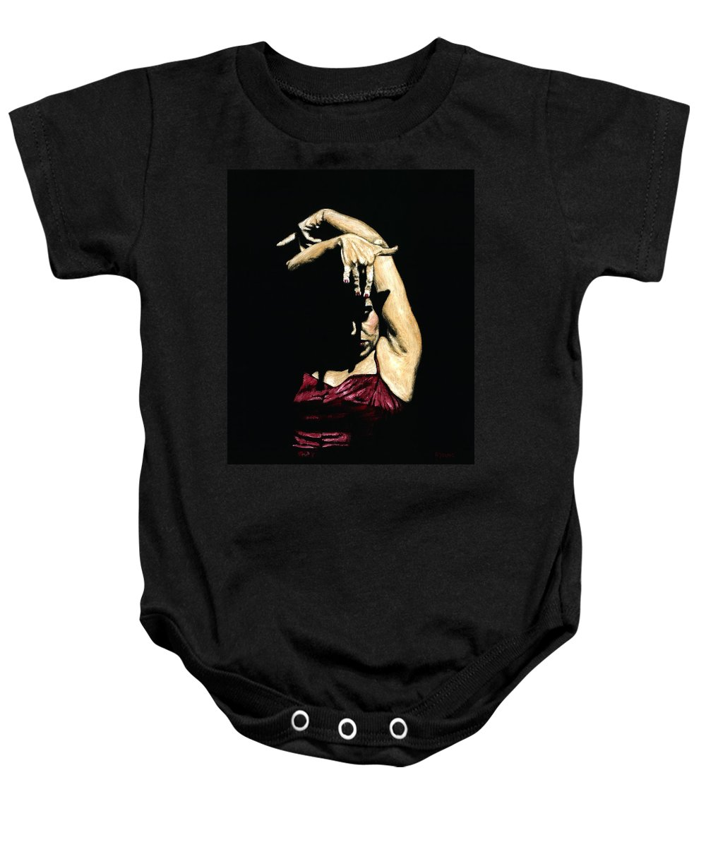 Flamenco Baby Onesie featuring the painting Seclusion del Flamenco by Richard Young