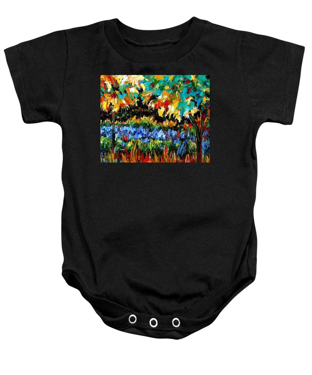 Landscape Baby Onesie featuring the painting Secret Garden by Debra Hurd