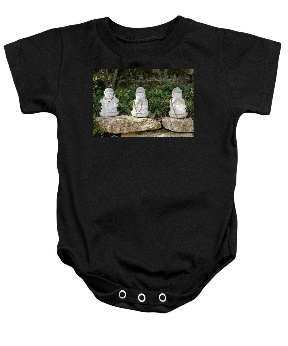 Asia Baby Onesie featuring the photograph See Hear Speak No Evil by Michele Burgess