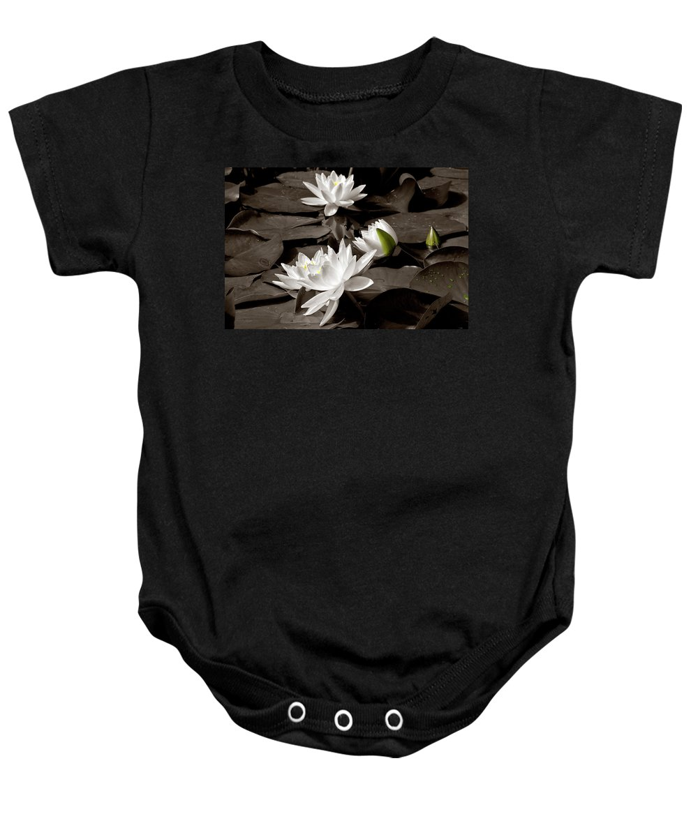 See Roses Baby Onesie featuring the photograph See Roses In The Pond by Wolfgang Stocker