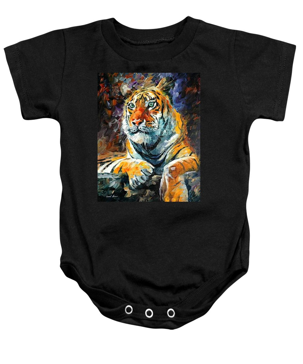 Painting Baby Onesie featuring the painting Seibirian Tiger by Leonid Afremov