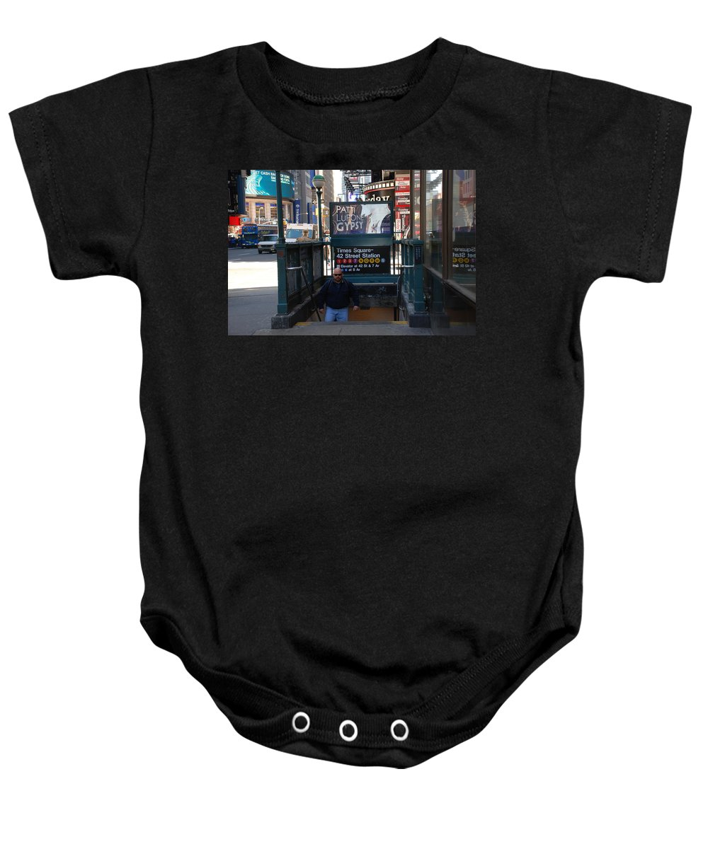 Subay Baby Onesie featuring the photograph Self At Subway Stairs by Rob Hans