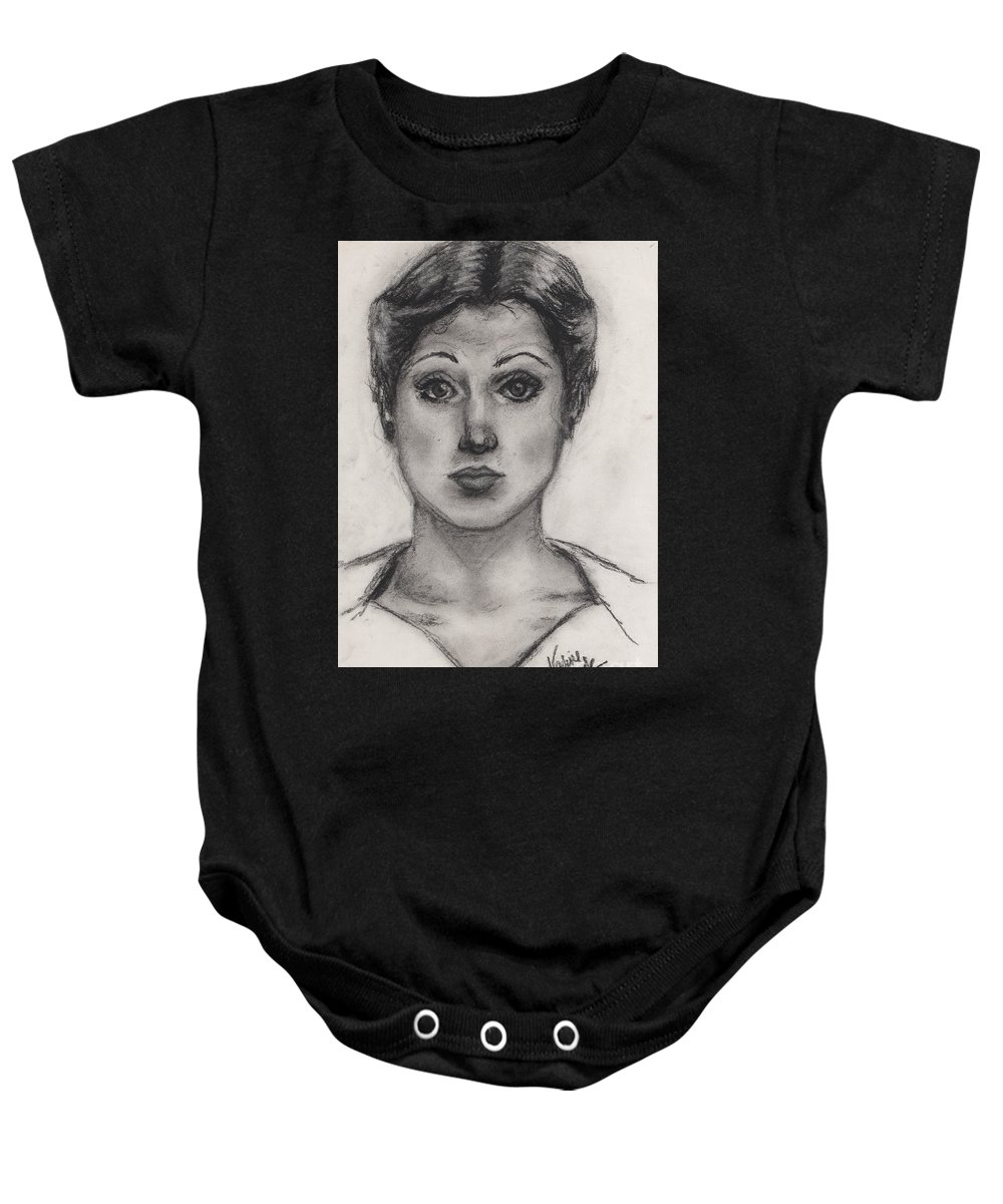 Nadine Baby Onesie featuring the drawing Self Portrait At Age 18 by Nadine Rippelmeyer