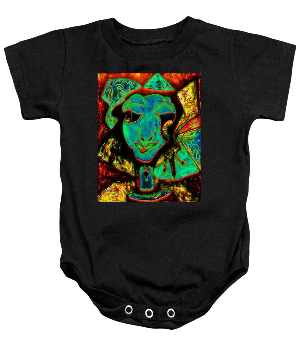 Fantasy Baby Onesie featuring the painting Self Portrait by Natalie Holland