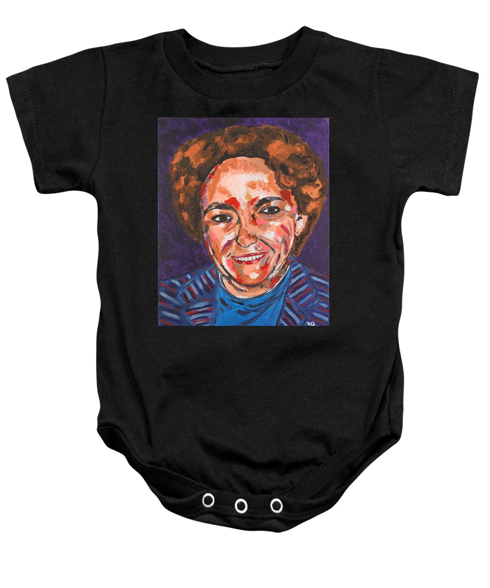 Portrait Baby Onesie featuring the painting Self-portrait With Blue Jacket by Valerie Ornstein