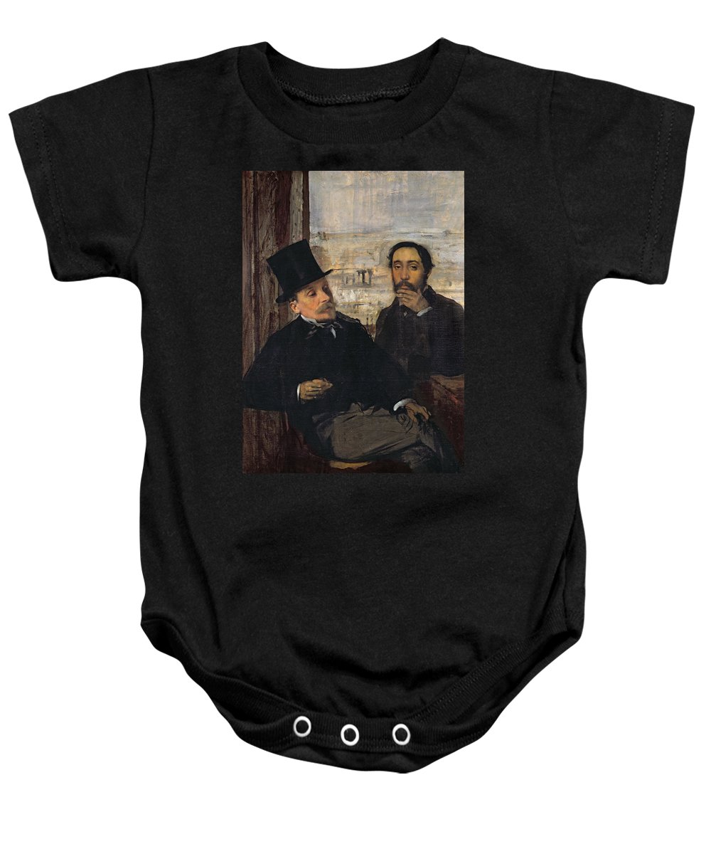 Self Portrait With Evariste De Valernes (1816-96) C.1865 (oil On Canvas) By Edgar Degas (1834-1917) Baby Onesie featuring the painting Self Portrait With Evariste De Valernes by Edgar Degas