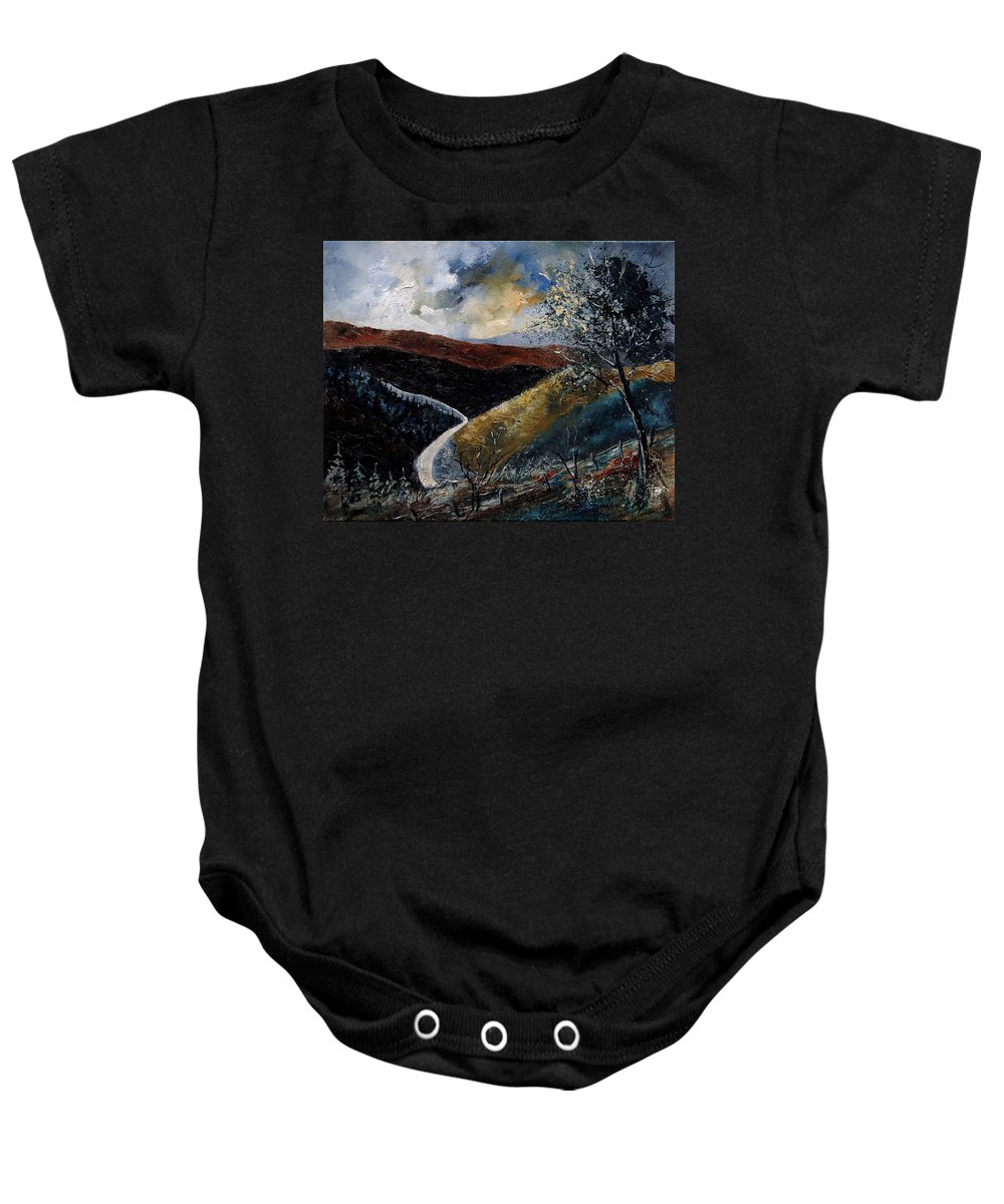 River Baby Onesie featuring the painting Semois Valley by Pol Ledent