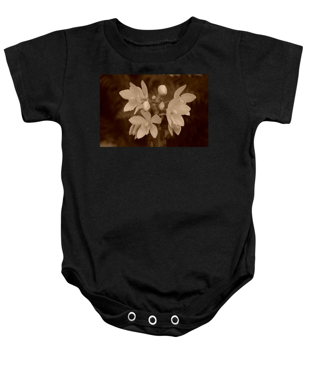 Macro Baby Onesie featuring the photograph Sepia Flower by Rob Hans