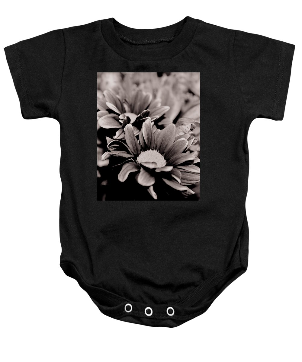 Flowers Baby Onesie featuring the photograph Sepia Flowers by Sally Falkenhagen