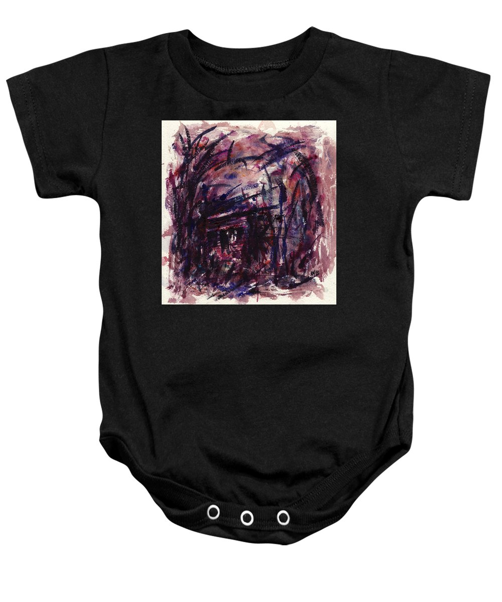 Shack Baby Onesie featuring the painting Shack Third Movement by Rachel Christine Nowicki
