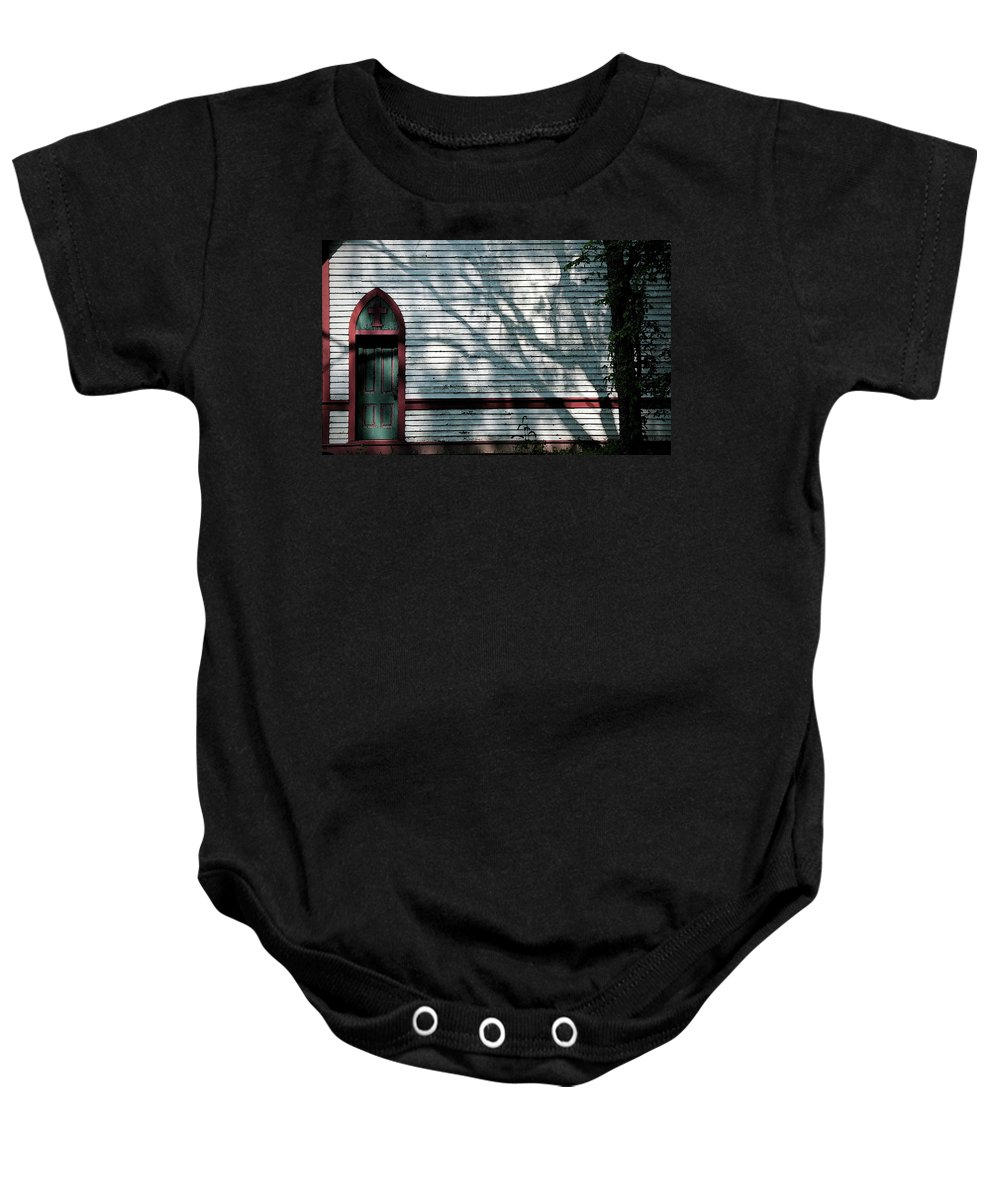 Church Baby Onesie featuring the photograph Shadows On Churchdoor by David Arment