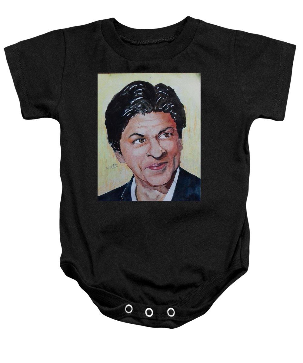 Shah Rukh Khan Srk Portrait Watercolour Portrait Baby Onesie featuring the mixed media Shah Rukh Khan by Swayambara Sarkar