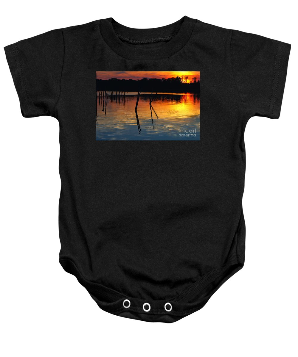Clay Baby Onesie featuring the photograph Shallow Water Sunset by Clayton Bruster