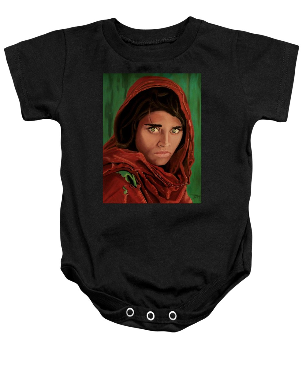 Afghan Girl Baby Onesie featuring the painting Sharbat Gula From Nat Geo Mccurry 1985 by D Turner