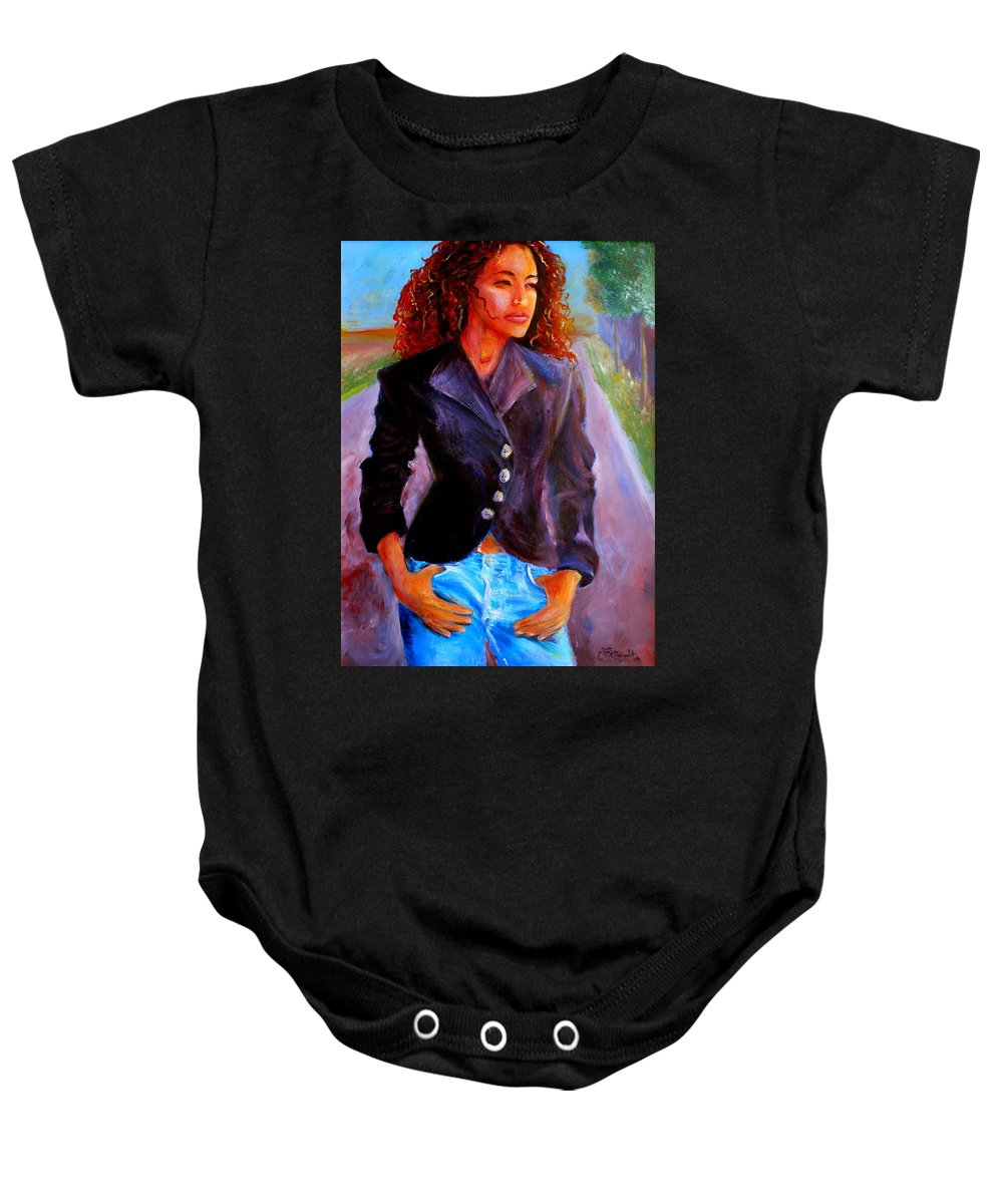 Acrylic Baby Onesie featuring the painting Sharice by Jason Reinhardt