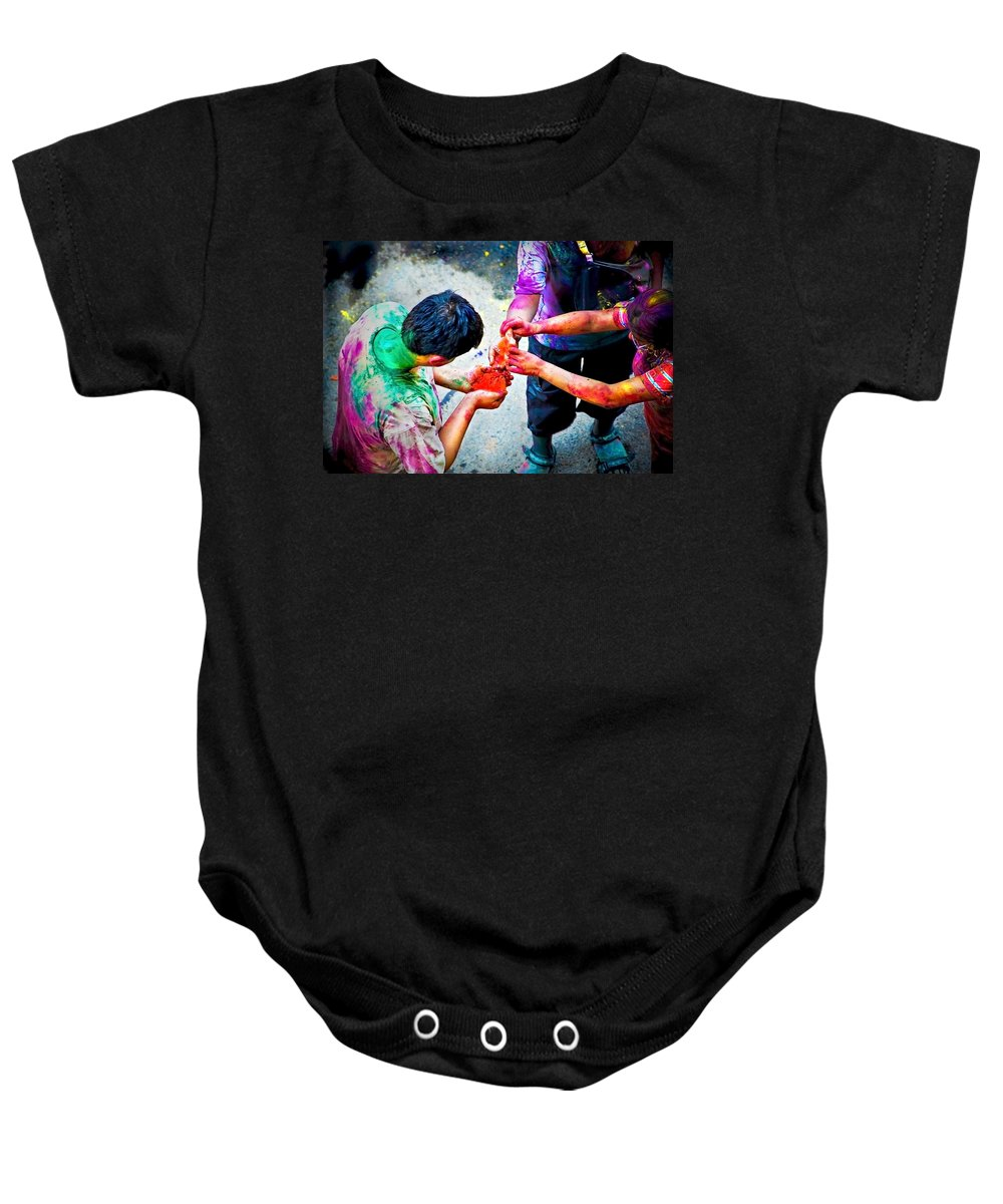 Historical Baby Onesie featuring the photograph Sharing Colors Sharing Happiness by Charuhas Images