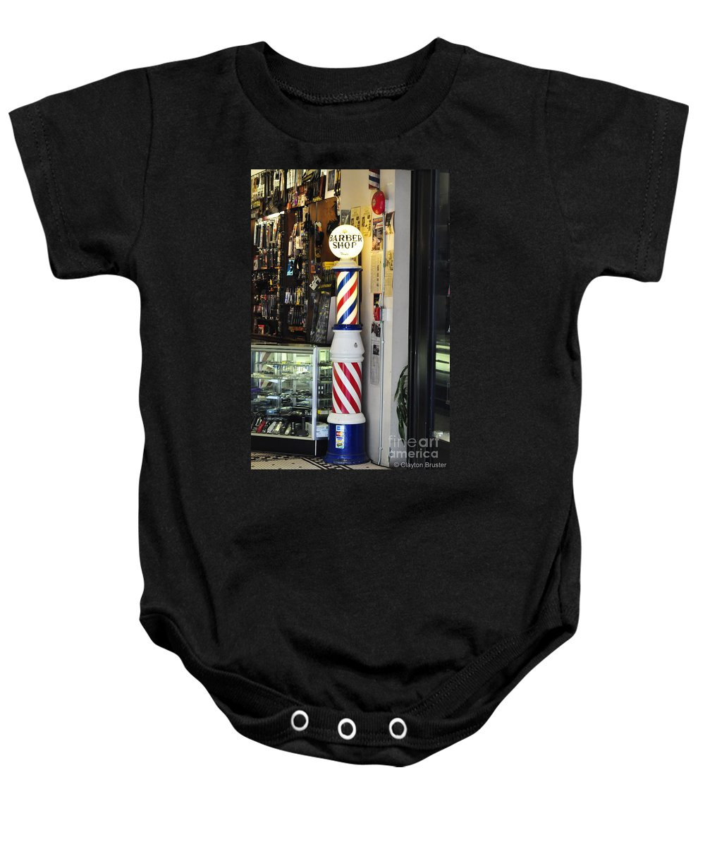 Clay Baby Onesie featuring the photograph Shave And A Haircut by Clayton Bruster