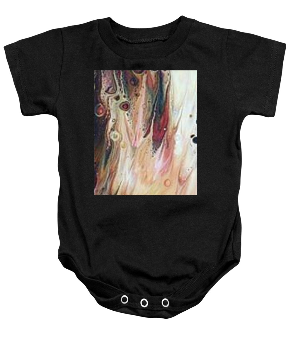 Fluid Art Baby Onesie featuring the painting She Had A Soul On Fire, With A Level Head And 20/20 Vision... by Deborah Tacker