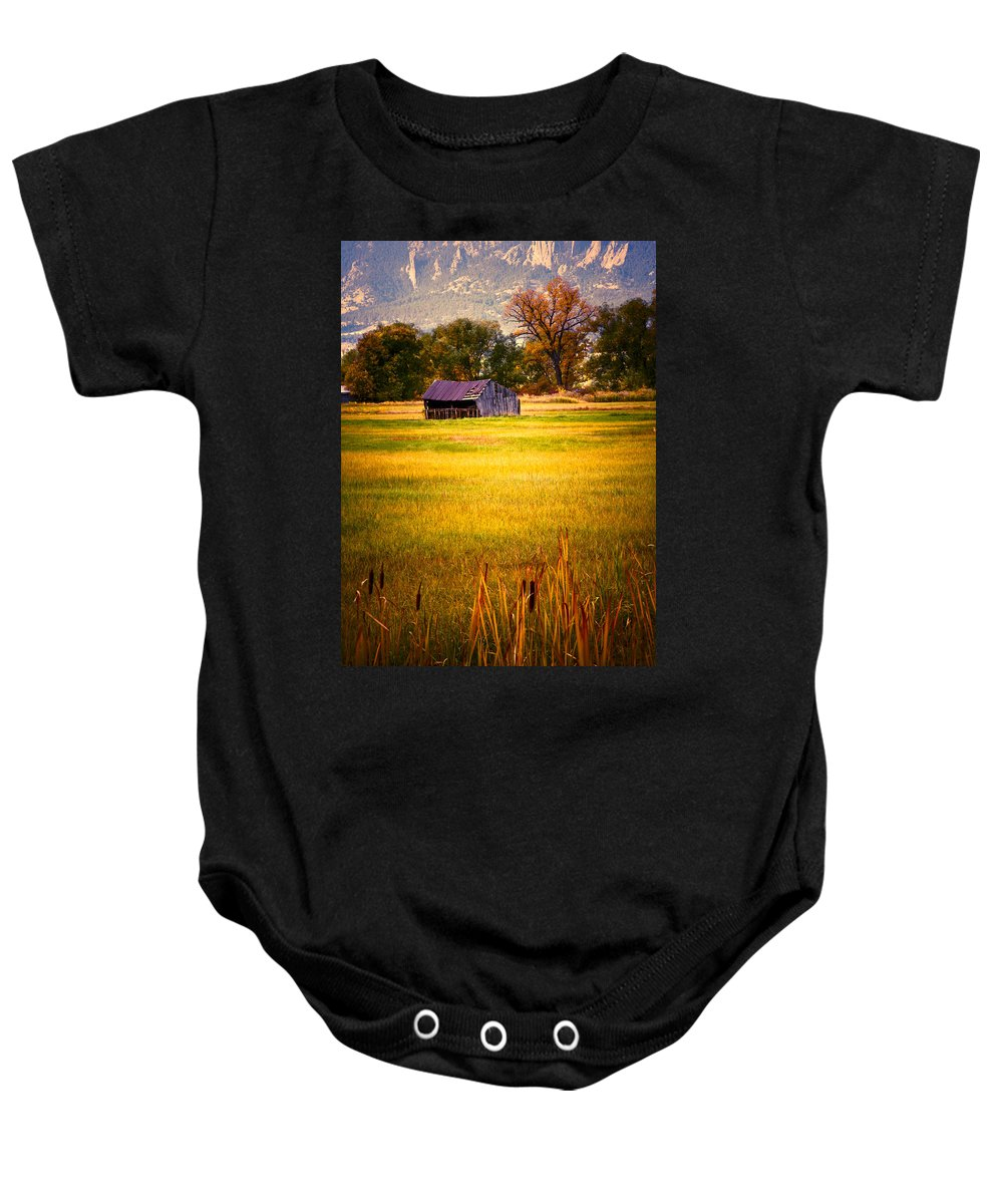 Shed Baby Onesie featuring the photograph Shed In Sunlight by Marilyn Hunt